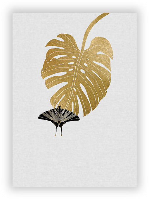 Butterfly &  Monstera Leaf