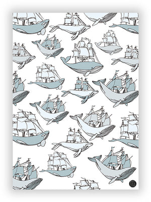 Sailboat and whales