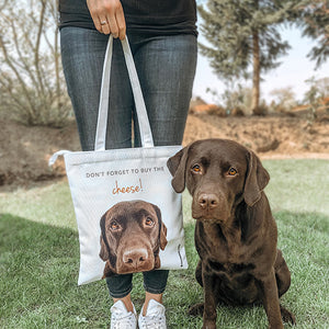 custom dog photo tote bag for dog lover