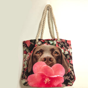 custom dog photo tote bag for pet lovers
