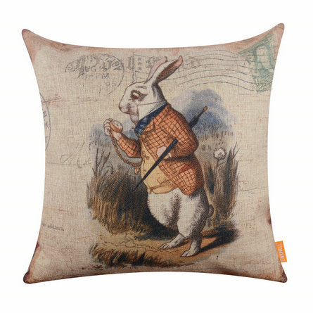 Alice in Wonderland Rabbit Pillow Cover