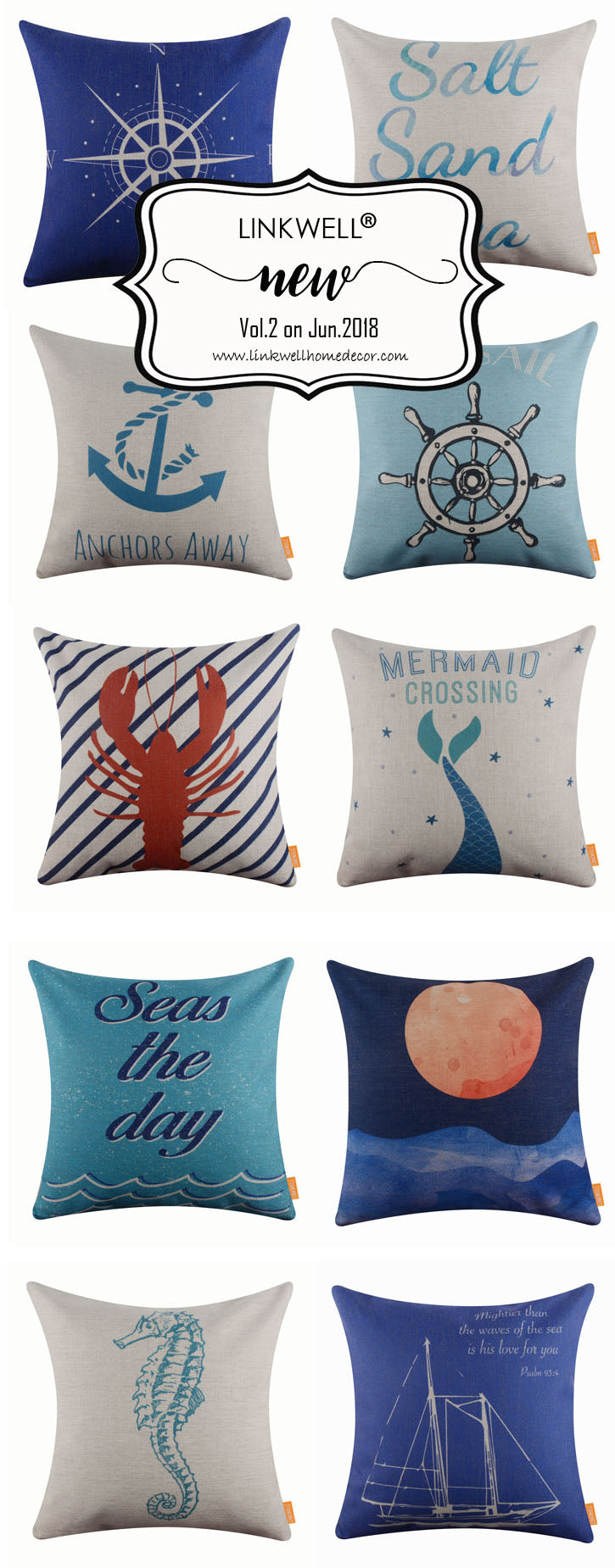 New Published Sea Life Series Linkwell coastal Pillow Cover in June 2018