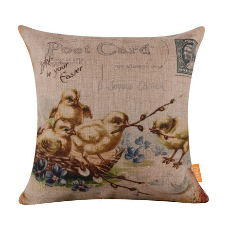 Postcard Chicks Pillow Cover