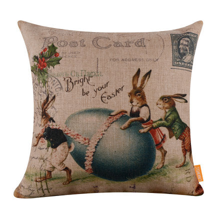 Postcard bunnies Pillow Cover