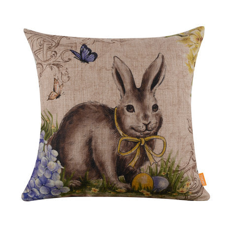 Yellow Ribbon Bunny Pillow Cover