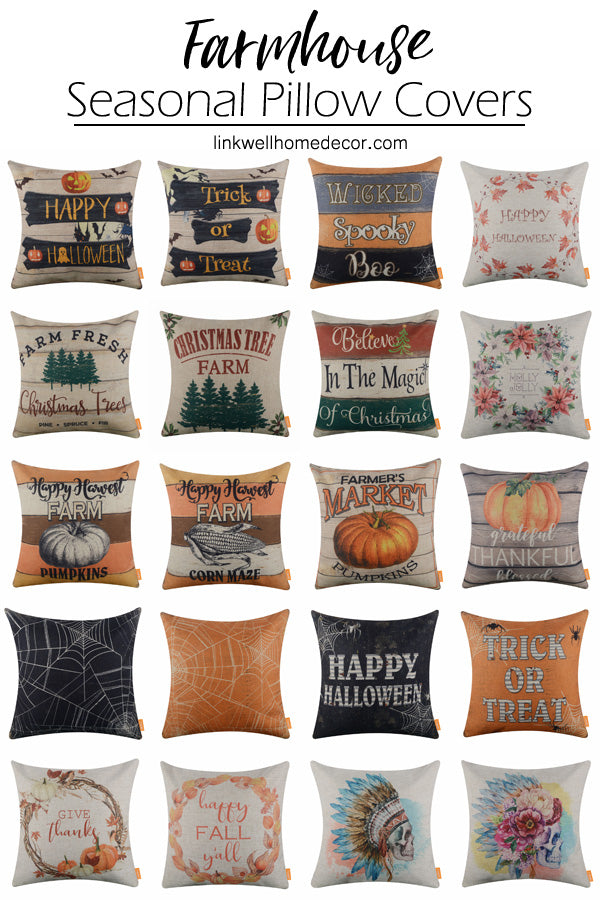 2018 New Farmhouse Style Holiday Pillow Covers