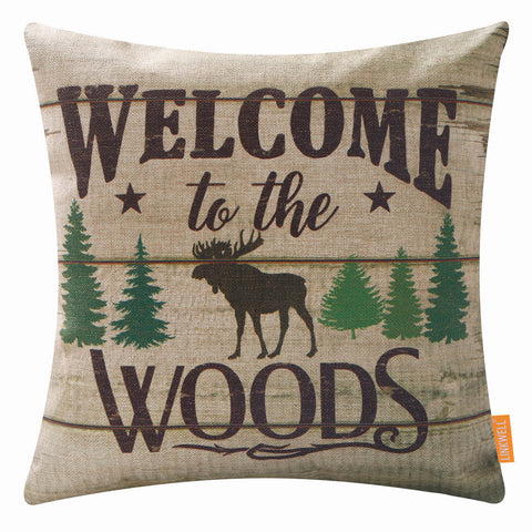 Image of 18x18 Welcome to the Woods Wildlife Pillow Cover