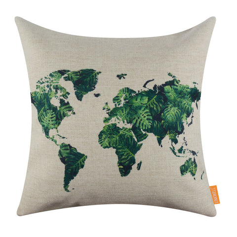 2017 Most Popular Color World Map Green Pillow Cover