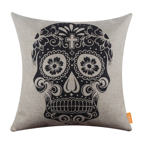 Image of 45X45cm Sugar Skull Decorative Cushion Cover
