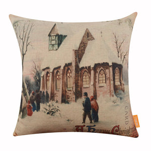 A Happy Christmas Postcard Pillow Cover for Seasonal Decor