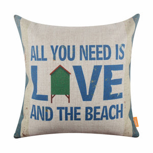 All You Need is Love and the Beach Blue Decorative Pillow Cover