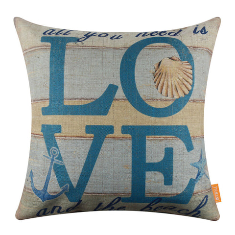 Image of All you need is Love and the Beach Covers for Couch Cushion
