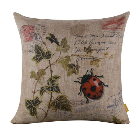 Image of Amazing Lady Bug Leaf Square Cushion Cover