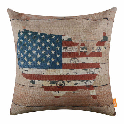 American Map Wood Pillow Cover