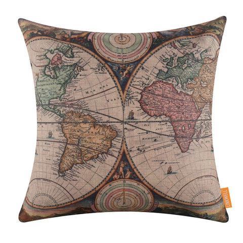 Image of Americas and Africa Map of the world Decorative Pillow Cover