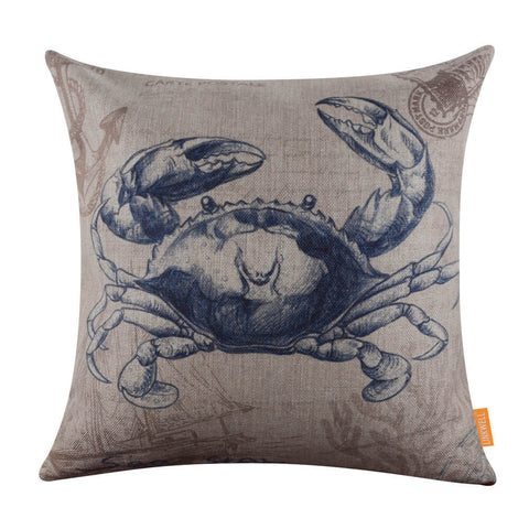 Image of Beach Decor Crab Pillow Cover