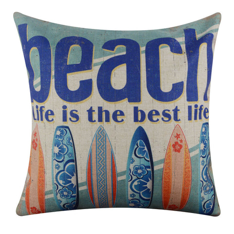 Beach Surfboard Pillow Cover
