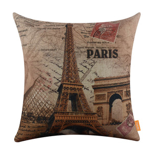 Beautiful Louvre Eiffel Paris Square Cushion Cover