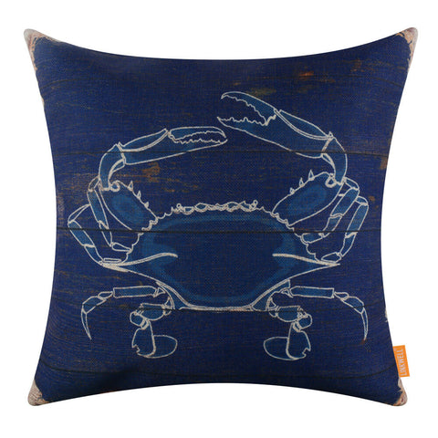 Big Crab Navy Blue Pillow Cover