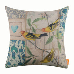 Bird Heart Pillow Cover