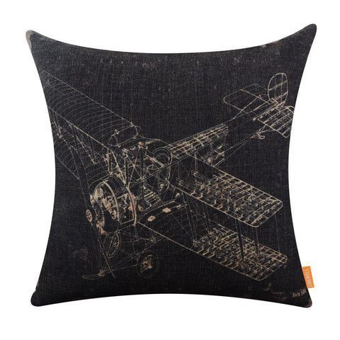 Image of Black Aeroplane Draft Designer Pillowcase