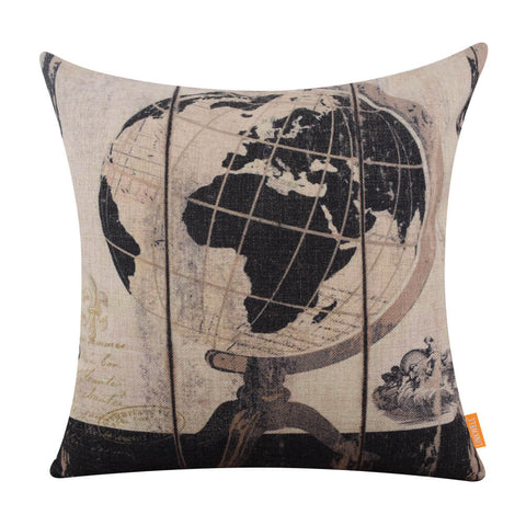 Black America World Map Car Cushion Cover