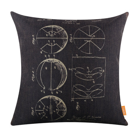 Black Basketball Patent Throw Pillow Cover