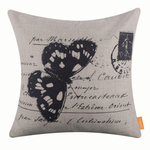 Black Butterfly Pillow Cover