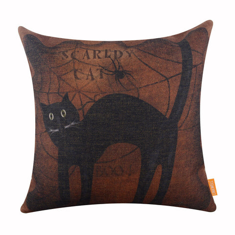 Image of Black Cat Halloween Pillow Cover