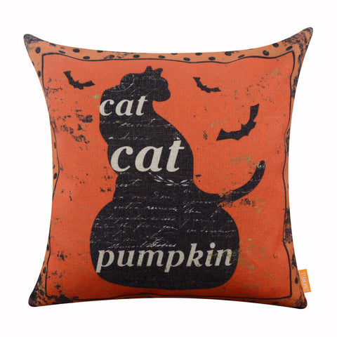 Image of Black Cat Sitting in the Pumpkin Decorative Pillow Cover
