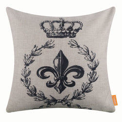 Black Fleur De Lys Pillow Cover