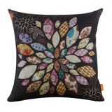 Black Floral Firework Throw Pillow Cover