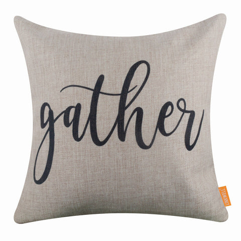 Black Gather Word Pillow Cover