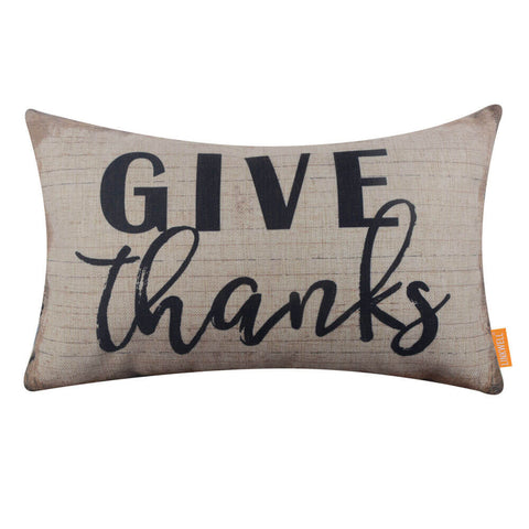 Black Give Thanks Pillow Cover for Thanksgiving Day