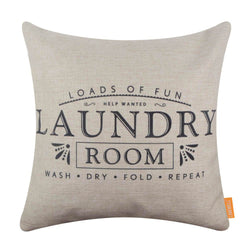 Black Laundry Room Words Pillow Cover