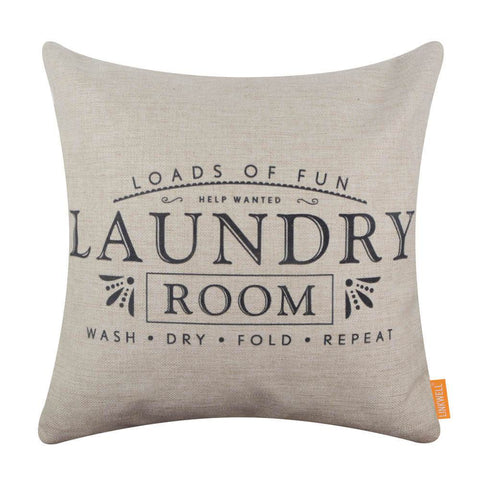 Image of Black Laundry Room Words Pillow Cover