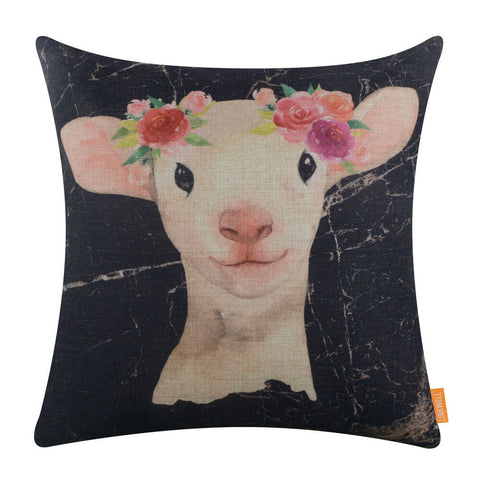 Black Marble Sheep Cushion Cover