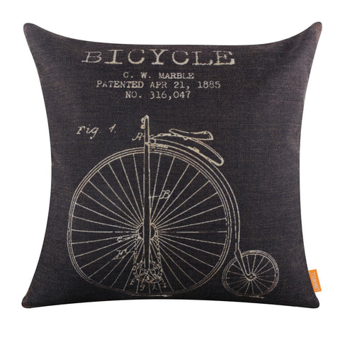 Black Penny-farthing Pillow Cover