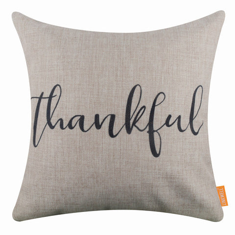 Image of Black Thankful Word Pillow Cover
