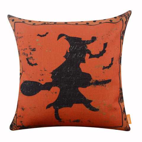 Image of Black Witch on Broom Orange Pillow Cover for Halloween Decor