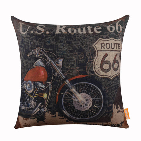 Black World Map Motorcycle Cushion Cover