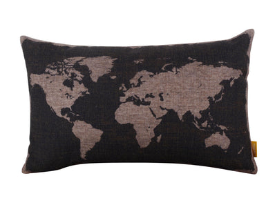 Black World Map Toss Pillow Cover