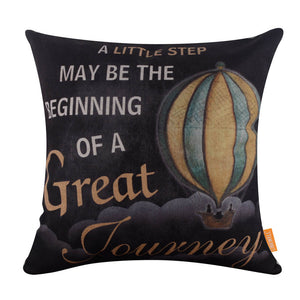 Blackboard Look Hot Air Balloon Quote Pillow Cover