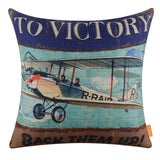 Blue Aircraft Decorative Pillow Cover