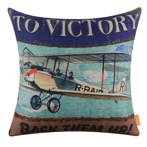 Image of Blue Aircraft Decorative Pillow Cover