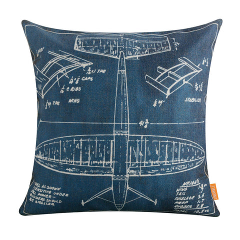 Image of Blue Airplane Patent Pillow Cover