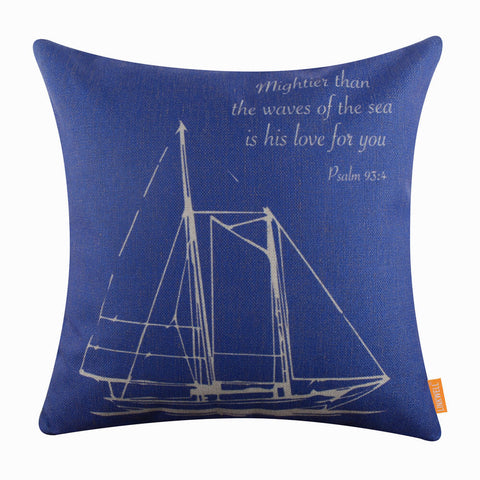 Blue Boat Pillow Cover