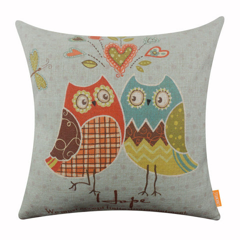 Image of Blue Cartoon Owl Pillow Cover for Kid Room