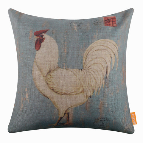 Blue Cockerel Pillow Cover