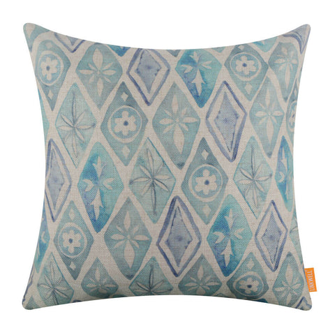 Image of Blue Diamond Ikat Pillow Cover
